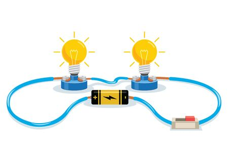 Simple Electric Circuit Experiment For Children Education Stock Illustratie