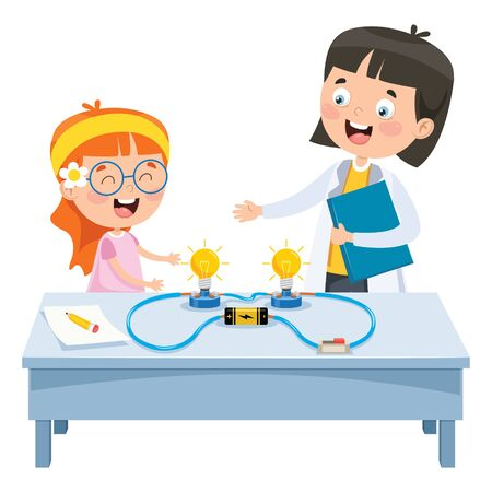 Simple Electric Circuit Experiment For Children Education Illusztráció