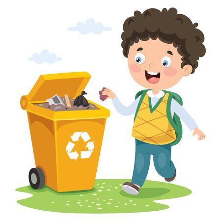 Kind gooit vuilnis in de prullenbak