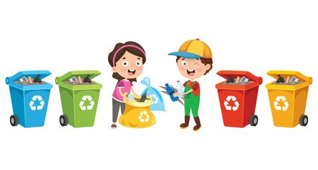 Little Children Cleaning And Recycling Garbage Illustration