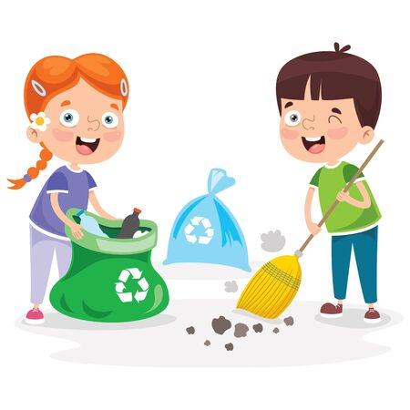 Little Children Cleaning And Recycling Garbage 矢量图像