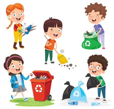 Little Children Cleaning And Recycling Garbage 向量圖像