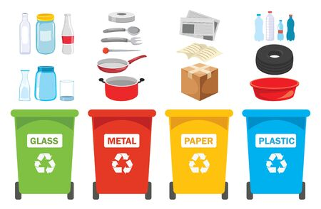 Recycle Bins For Plastic, Metal, Paper And Glass Illustration