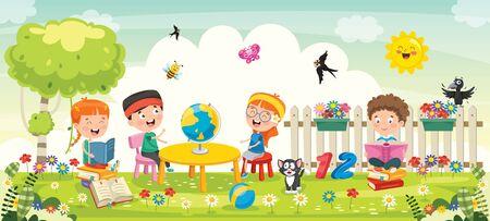 Little School Children Studying At Park