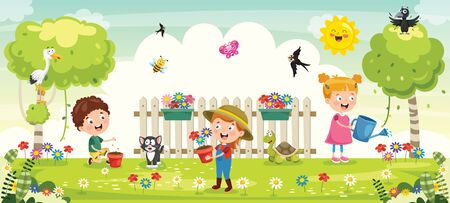 Little Children Gardening And Planting Illustration