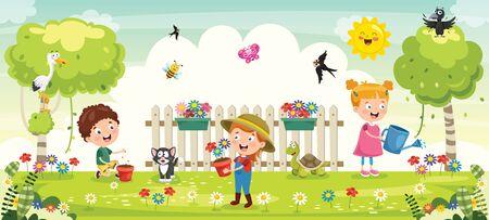 Little Children Gardening And Planting Illustration