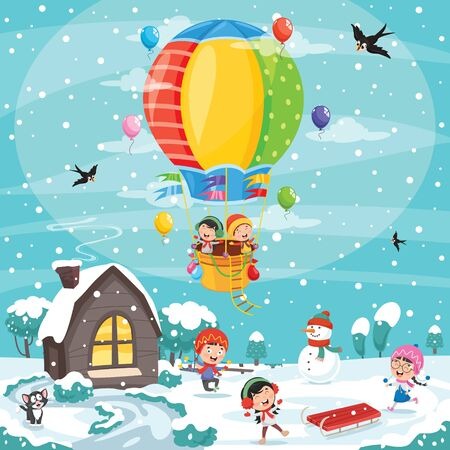 Children Playing Outside In Winter Illustration