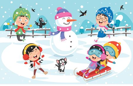 Dzieci bawiące się na dworze zimą Ilustracje wektorowe