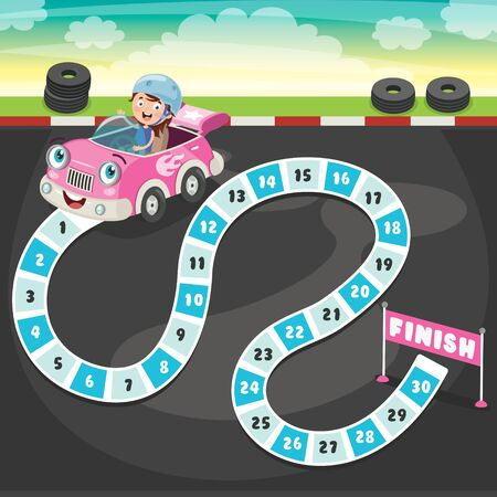 Numbers Boardgame Illustration For Children Education