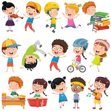 Verzameling van kleine tekenfilmkinderen