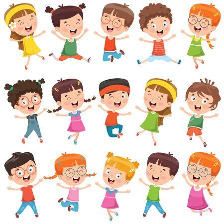 Colección de pequeños niños de dibujos animados Ilustración de vector