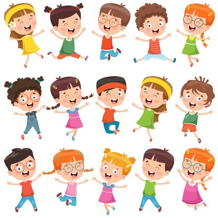 Collection Of Little Cartoon Children Vektorové ilustrace