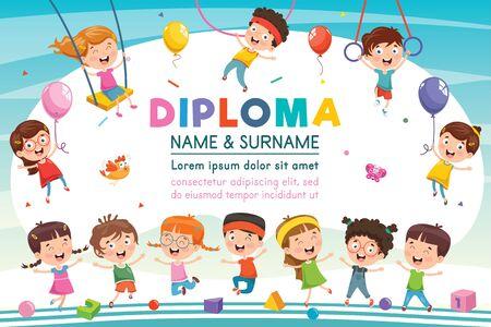 Certificato di diploma per bambini di scuola materna in età prescolare