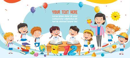 Little Students With Their Teacher Ilustracja