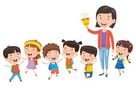 Little Students With Their Teacher Иллюстрация