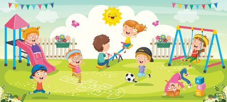 Children Playing In The Park Stock Illustratie