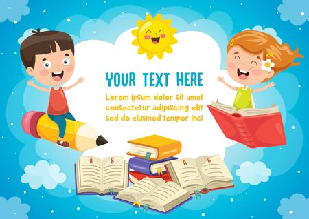 Colorful Template With Cute Children Illustration