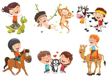 Children Playing With Funny Animals Illustration