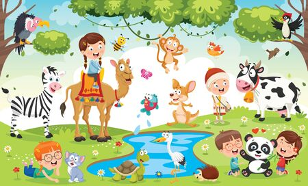 Children Playing With Funny Animals Stock Illustratie