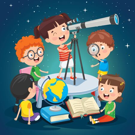 Kid Using Telescope For Astronomical Research Illustration