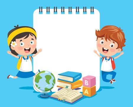 Paper Template Design For Children Education Ilustração