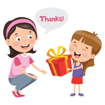 Thank You Illustration With Cartoon Characters Illustration