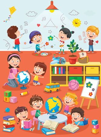 Little Children Studying And Playing At Preschool Classroom Ilustracja