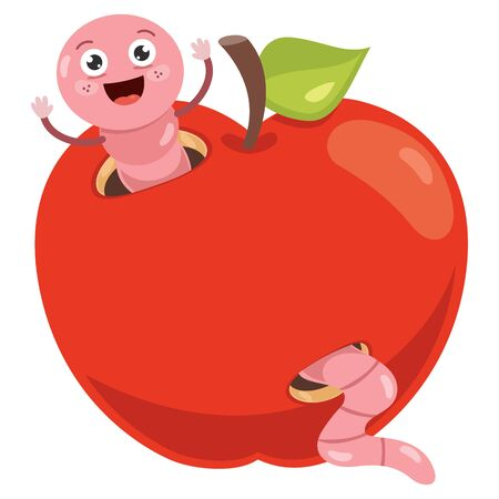 Red Apple And Cute Worm Cartoon