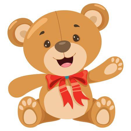 Little Funny Teddy Bear Cartoon 向量圖像