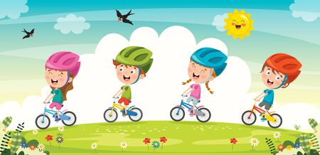 Happy Little Children Riding Bicycle Stock Vector - 135470482