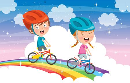 Happy Little Children Riding Bicycle