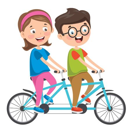 Happy Family Riding Bicycle Together