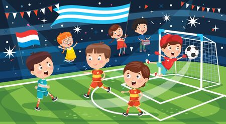 Little Children Playing Football Outdoor Illustration