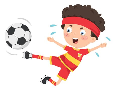 Little Child Playing Football Outdoor Illustration