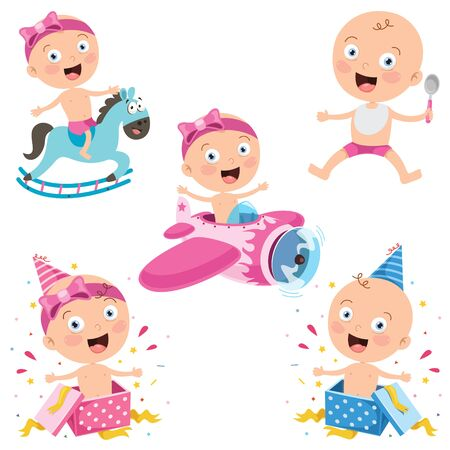 Various Poses Of Cartoon Baby Illustration