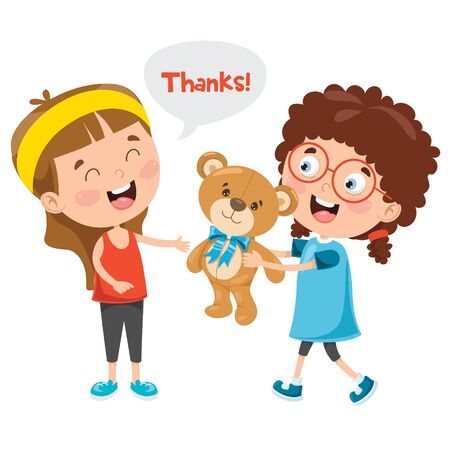 Thank You Illustration With Cartoon Characters Ilustracja