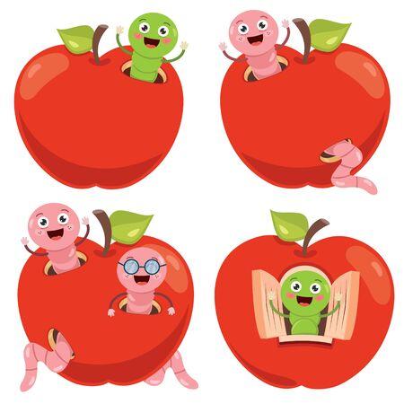Pomme rouge et ver de dessin animé