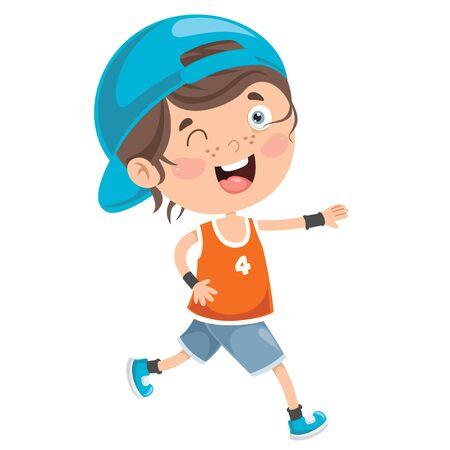 밖에 서 달리는 재미 있는 작은 아이