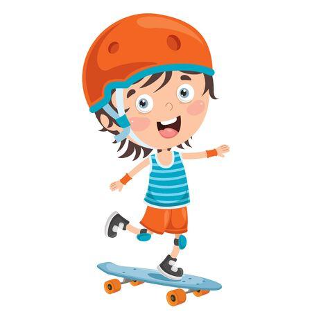 Happy Little Child Skateboarding Outside  イラスト・ベクター素材