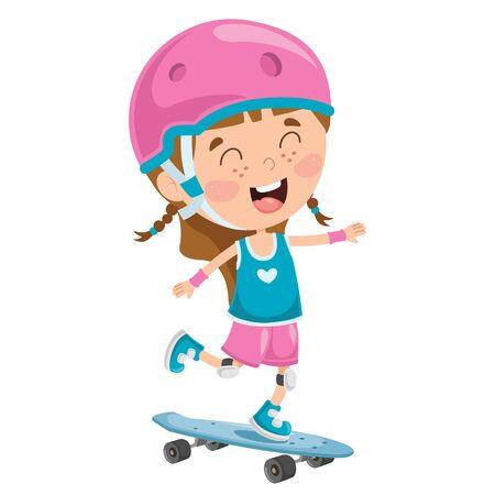 Happy Little Child Skateboarding Outside Illustration