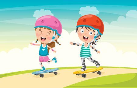 Bambini felici che fanno skateboard all'esterno