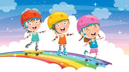 Happy Little Children Skateboarding Outside