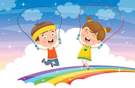 Little Happy Kids Skipping Rope