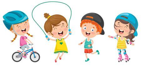 Happy Little Children Making Sport Vetores