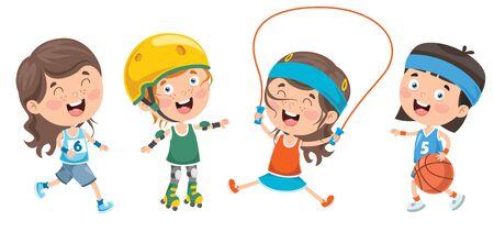 Happy Little Children Making Sport