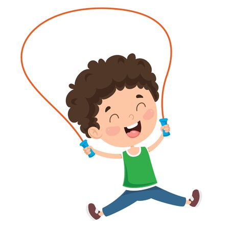 Little Happy Kid Skipping Rope