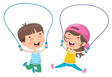 Niños felices saltando la cuerda