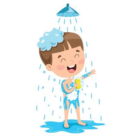 Funny Little Kid Having Bath
