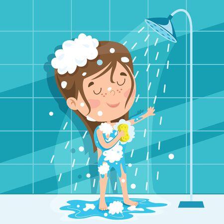rigolote, petit gosse, avoir bain