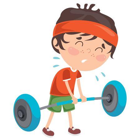 Little Boy Making Weight Lifting Exercise Vecteurs